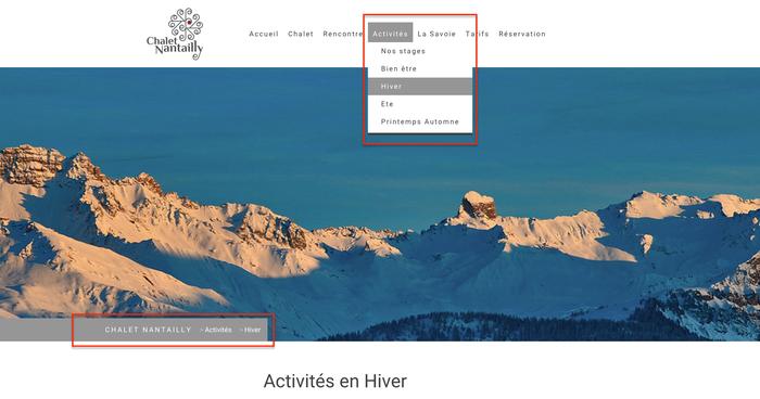 Le site Jimdo www.claletnantailly.fr utilise le design Rome, qui a, à la fois un menu déroulant et un fil d'ariane (encadrés en rouge).