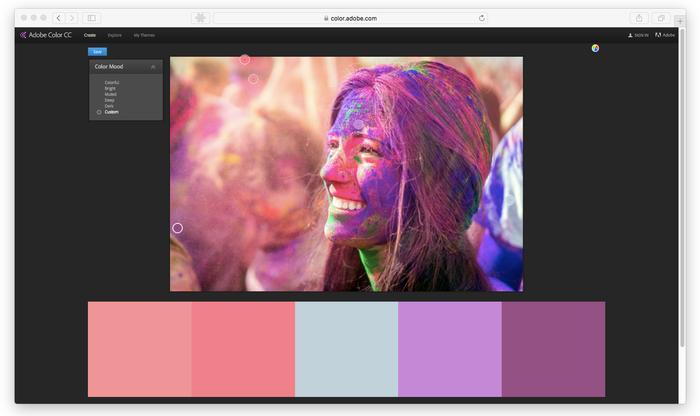 Capture d'ecran Adobe color CC avec une image d'une femme sur un festival holi
