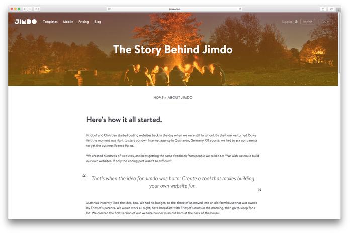 Sur la page À propos de Jimdo, nous essayons de refléter l'esprit de notre entreprise, grâce à un ton léger et sympathique !