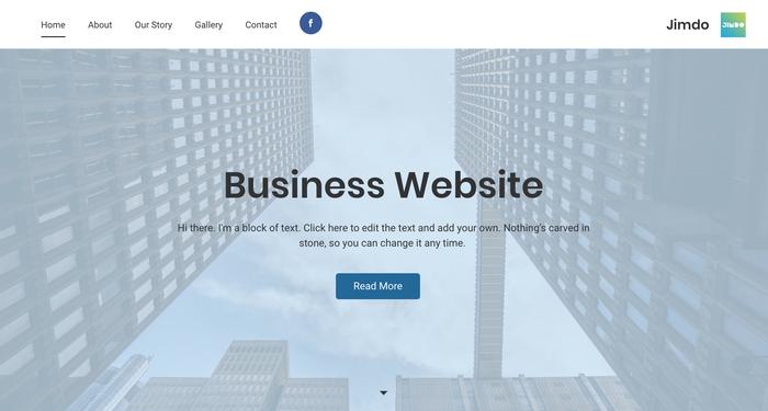 Capture d'écran de la page d'accueil d'un site Jimdo