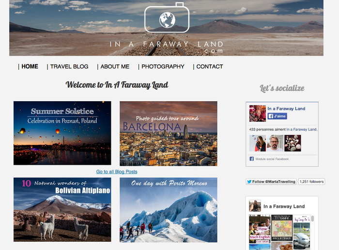 exemple de site de blog de voyage Jimdo