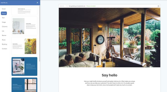 Capture d'écran de blocs à propos dans l'éditeur Jimdo
