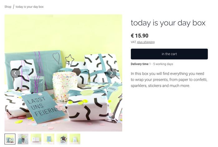 Capture d'écran d'une page produit avec photos sur le site de la marque allemande Happy to Give