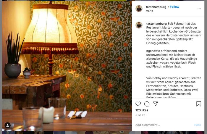 Publication Instagram sur le restaurant marta à Hambourg