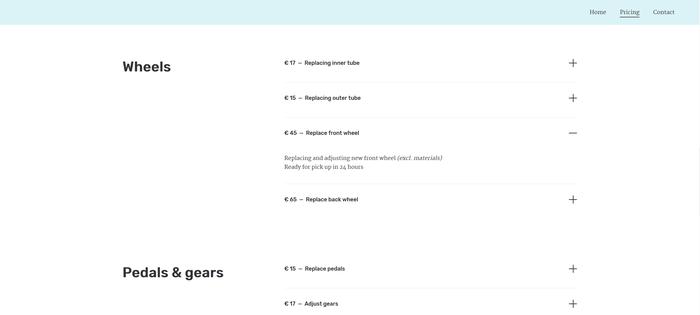 Exemple d'une page de tarifs utilisant une liste.