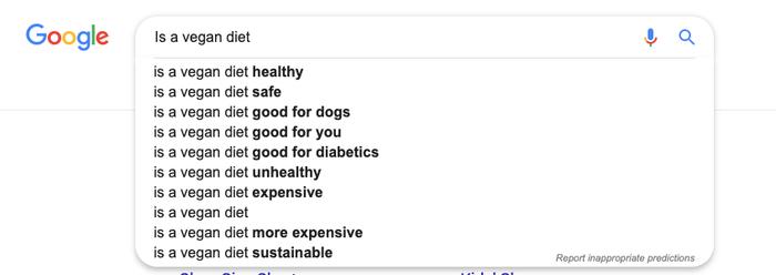 Exemple de prédictions de recherche sur Google