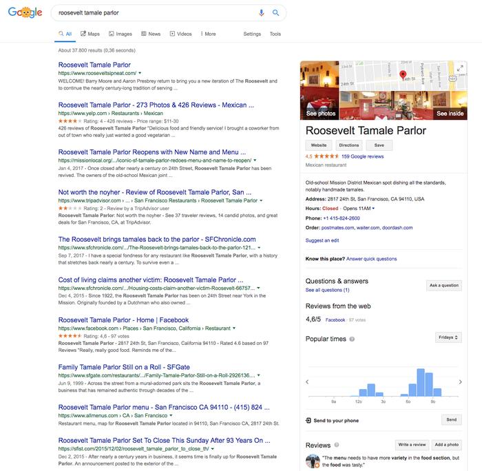 Exemple de résultats de recherche avec fiche Google My Business