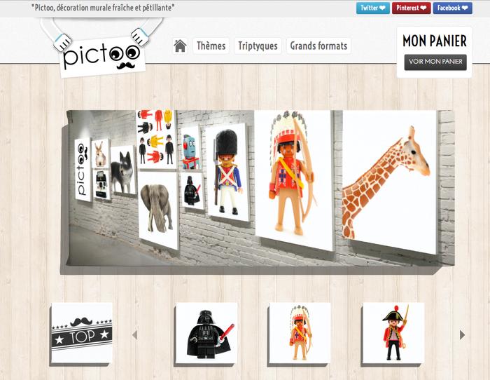 Page d'accueil de pictoo.be avec une navigation et des images cliquables qui renvoient vers les différentes sections du site.