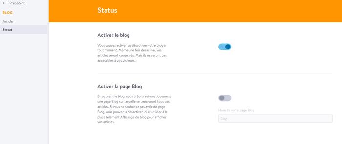 Dans la partie Blog > Statut, vous pouvez modifier le statut de votre blog.
