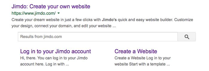 Exemple de résultat de recherche avec balise titre Jimdo