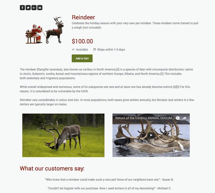 En créant une page produit, vous pouvez ajouter davantage de photos, des vidéos, des boutons de partage, etc.