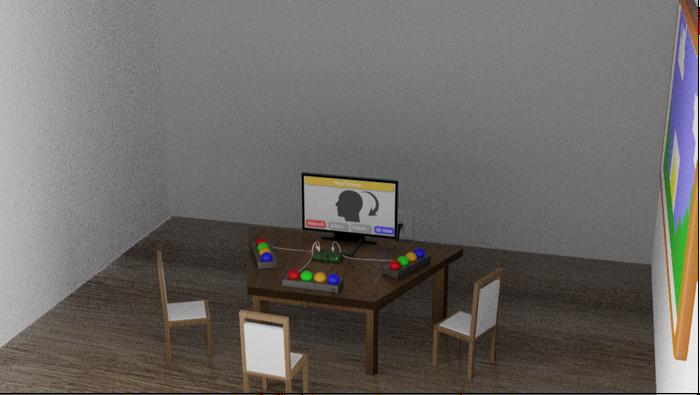 3D Modell vom Aufbau des Spiels (Abstände sind variabel)