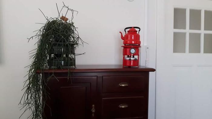 Rood emaille Haller petroleumstel, rood emaille ketel