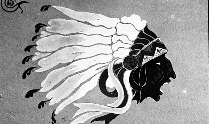 Document 4_ Tête de chef sioux, emblème de l'escadrille La Fayette, source: Film sur l'escadrille La Fayette de Baptiste Léon, Ministère de la Défense, DMPA