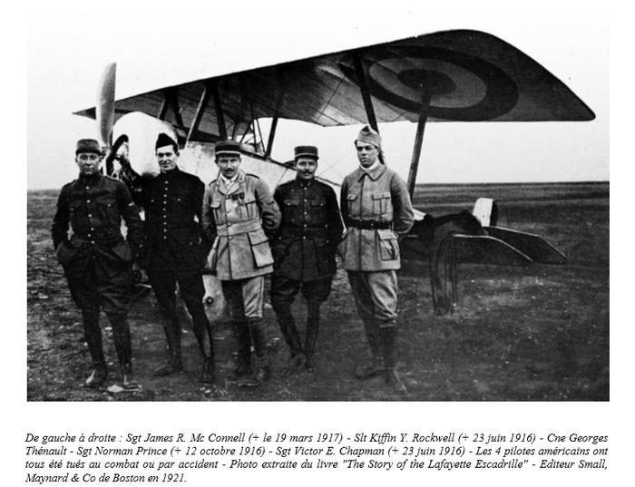 Document 3_ Le capitaine Thénault, entouré de pilotes américains, dont Norman Prince, tous morts pendant la guerre, source: Dossier de presse du ministère de la Défense, centenaire de l'escadrille La Fayette, 20 avril 2016