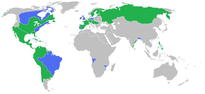 Carte 1_Les pays belligérants de la Guerre de Sept ans (1756-1763). En vert: France, Espagne, Autriche, Russie, Suède et leurs alliés. En bleu: Grande-Bretagne, Prusse, Portugal et leurs alliés. source: Wikipédia