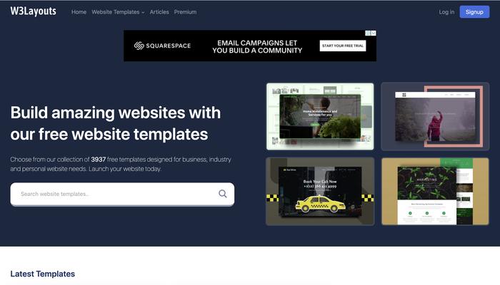 W3Layoutsホームページのイメージ画像