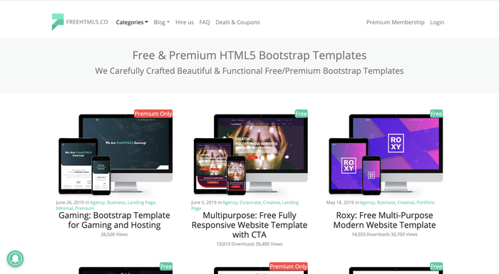FreeHTML5.coのホームページイメージ画像