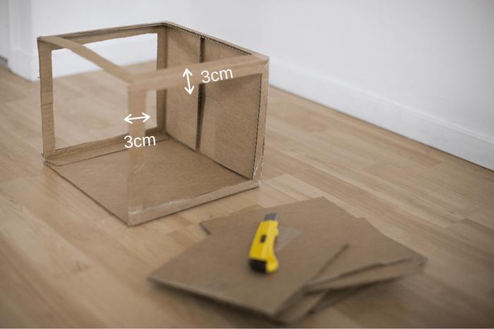 ダンボールで撮影ボックスを作成(ステップ1)