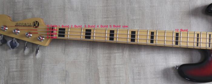 Ein 4 Saiter E- Bass. Die Saiten heißen E, A, D, G