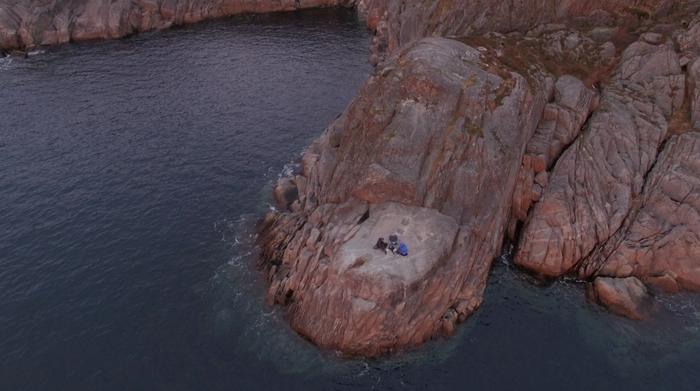 "Anne Pflug ""Clam Powder On Lofoten"" performance video 2018 drone operated by Jona Kleinlein"