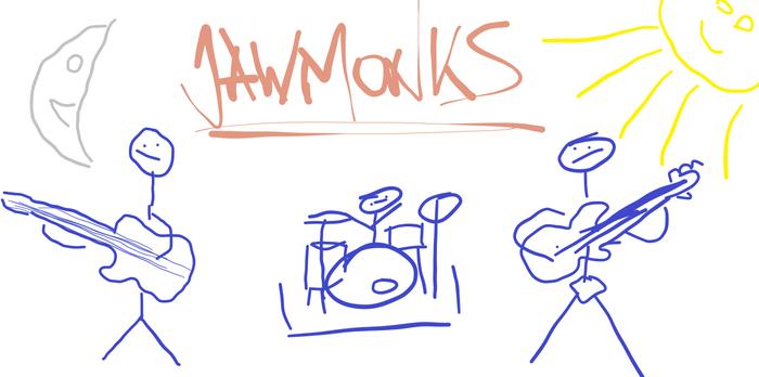 """Zeichnung von Jawmonks: """"Jawmonks im Proberaum"""""""