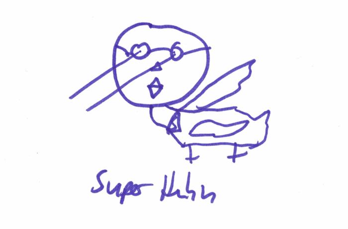 """Daniel H. """"Superhuhn mit Laseraugen"""" - gezeichnet von Daniel K."""
