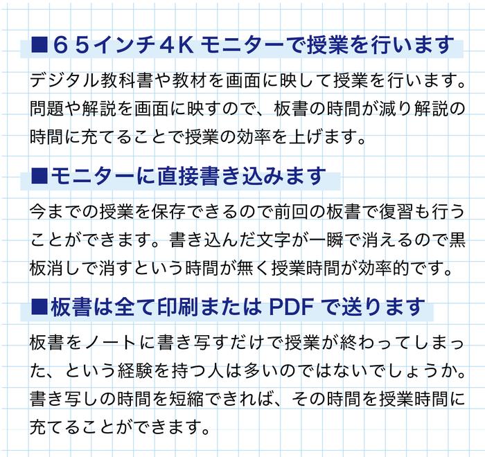 65インチ4Kモニターの電子黒板で授業を行います。板書は全て印刷またはPDFで送信いたします。