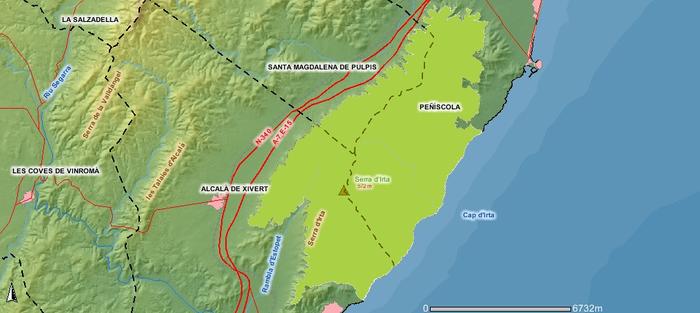 Mapa de la  Sierra de Irta, Castellón,Comunidad Valenciana.