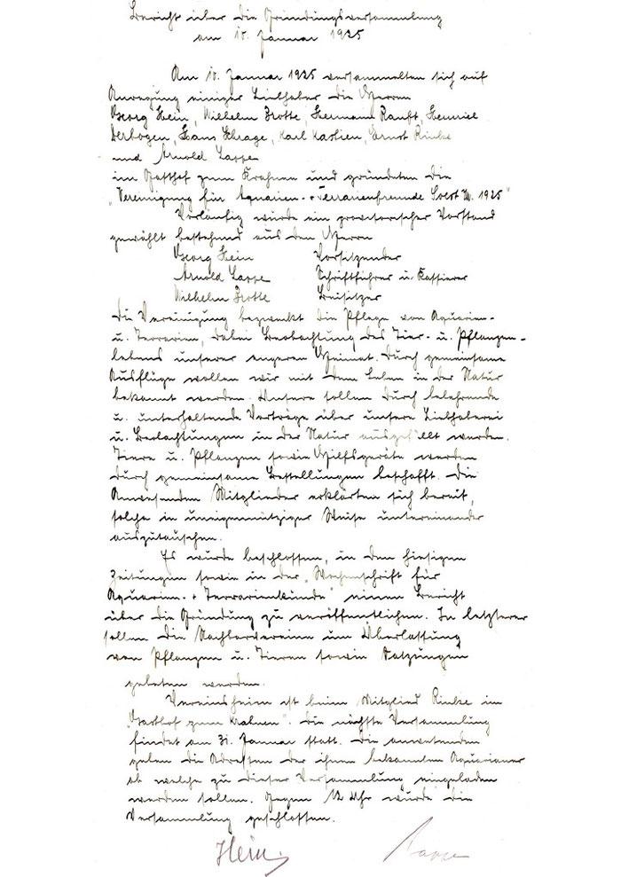 Dies ist das originale Protokoll der Gründungssitzung vom 10. Januar 1925 in altdeutscher Schrift