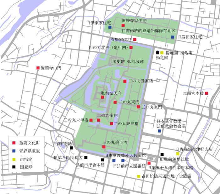 弘前公園の周辺にある文化財建造物のマップ