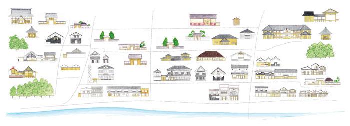 登米市登米町「みやぎの明治村」のイラストマップです。登米市登米町はNHK連続テレビ小説「おかえりモネ」ロケ地のひとつとしても注目されています。