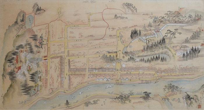 みやぎの明治村・登米(宮城県登米市登米町)の江戸時代の絵図です(登米懐古館所蔵)。登米はNHK連続テレビ小説「おかえりモネ」ロケ地としても注目されている古い町並みです。