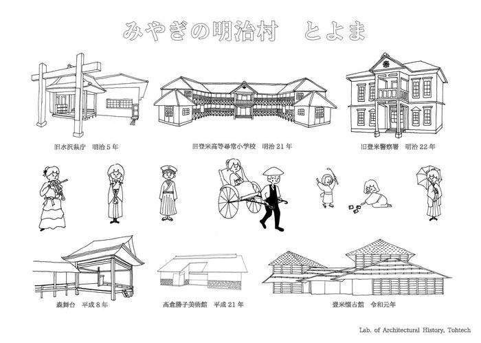 登米市登米町「みやぎの明治村」のイラストです。登米市登米町はNHK連続テレビ小説「おかえりモネ」ロケ地のひとつとしても注目されています。