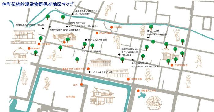 青森県弘前市仲町伝統的建造物群保存地区のサムライをあしらったイラスト・マップです。