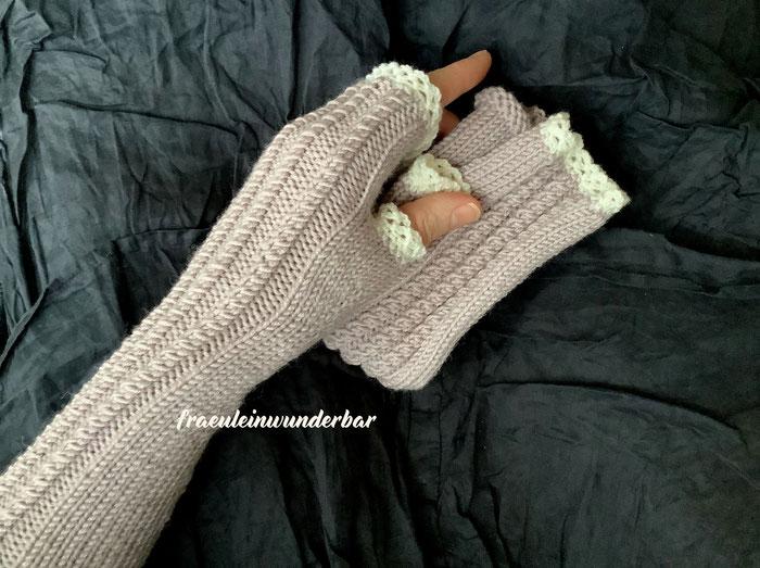 Handgestrickte Hanstulpen von Fraeulein Wunderbar aus 100 % Schurwolle (Merino extrafein)
