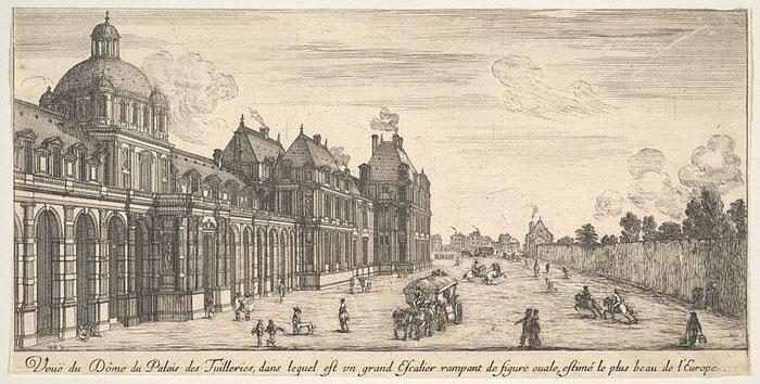 Vue du château, séparé du jardin par une rue par Israël Silvestre. (Source : Metropolitan Museum of Art, base de données en ligne : entrée 413384)