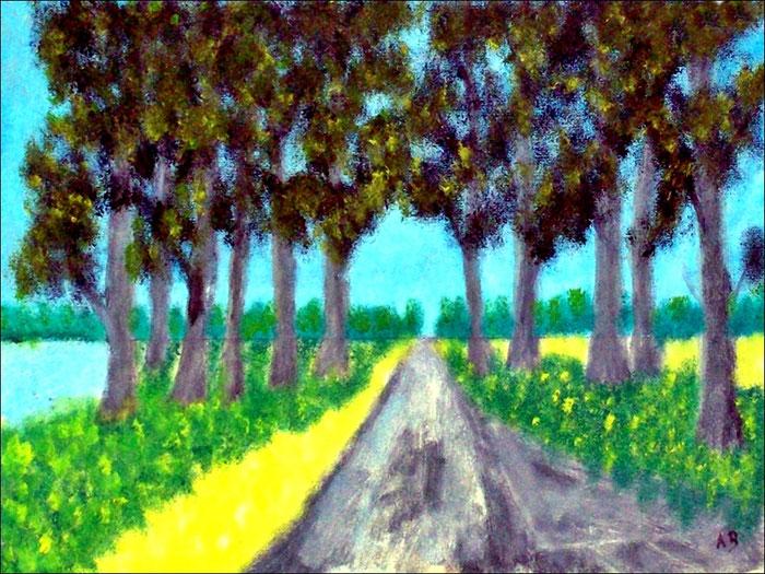 Allee, Bäume, Mischtechnikgemälde, Felder, Wiese, Blumen, Feldweg, Wald, Mischtechnikmalerei, Landschaftsbild, Mischtechnikbild, Mixed Media Landscape Painting