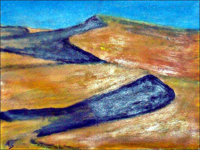 Wüstenlandschaft, Pastellmalerei, Dünen, Sand, Hügel, Schatten, Pastellgemälde, Pastellbild