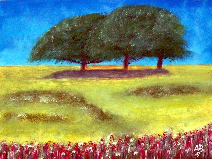 Three Trees, Ölgemälde, Drei Bäume, Feld, Wiese, Natur, Gras, Blumen, Sommer, Landschaftsbild, Ölmalerei, Ölbild