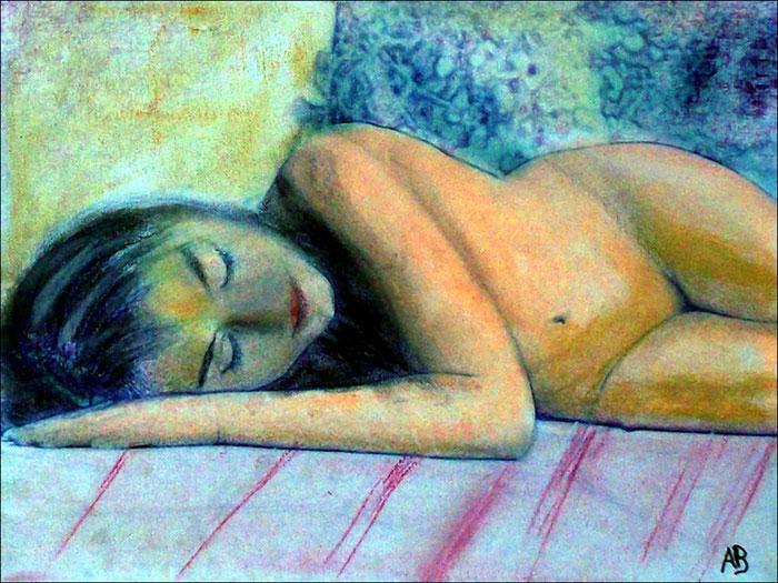 Sleeping Girl, Pastellbild, Frau, Akt, Erotik, Feminin, Aktmalerei, Pastellgemälde, Pastellmalerei
