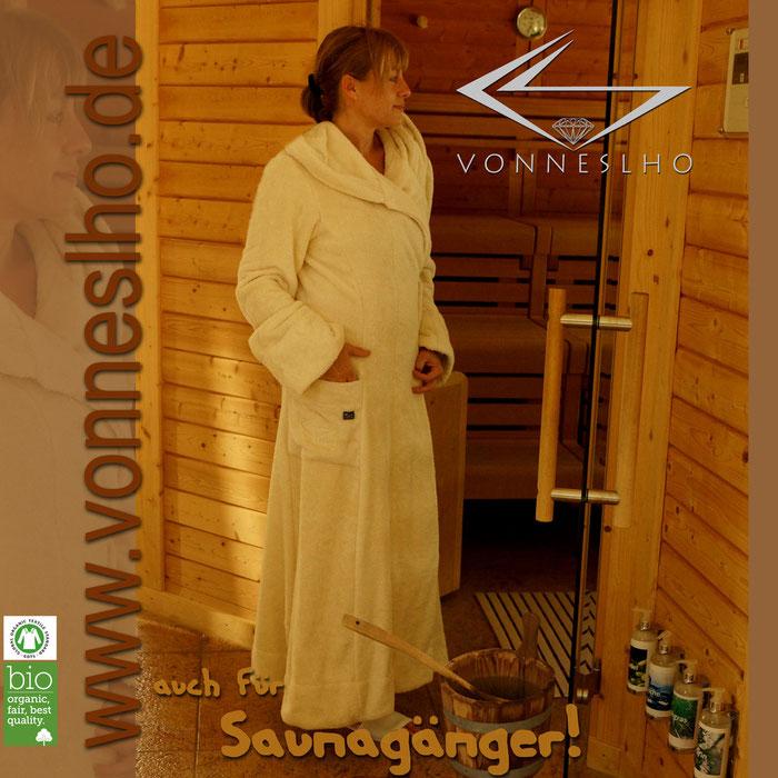 schöner Luxus Bio Bademantel mit Kapuze extra lang, attraktiver Schnitt für Damen und Herren, Spa, Wellness Mantel