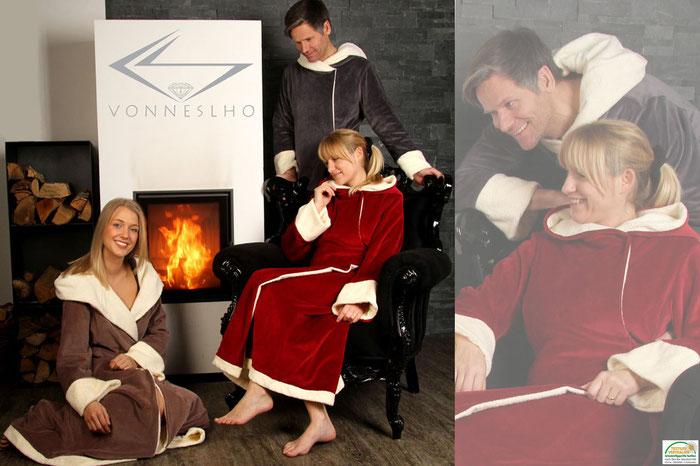 schöner langer Bademantel mit Kapuze kuschelig warm luxus Wellnessmantel langer Saunamantel