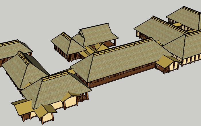 宮城県涌谷町の涌谷要害屋敷本丸御殿をスケッチアップを使って復元したものです。