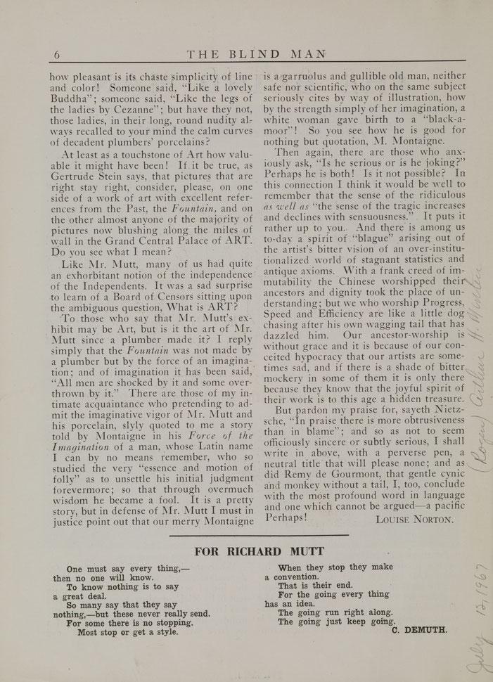 『ザ・ブラインド・マン』2号,1917年,ルイーズ・ノートンによる文章