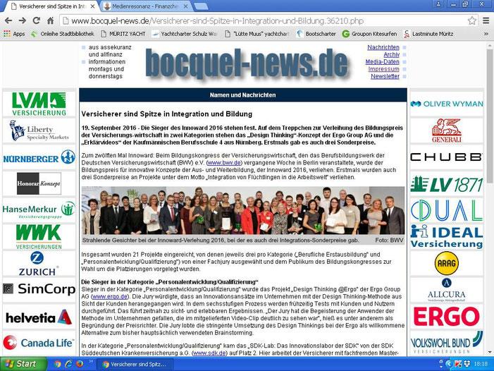"""Bocquel_News (Screenshot vom 21.09.2016) - O-Ton im Text: """"Finanzchecker"""" war nicht nur auf Youtube en """"Star"""", sondern auch bei der Innoward-Preisverleihung !!!!! :-)"""