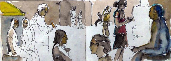 Menschen, mit Tinte gezeichnet und aquarellfarbe ausgemalt
