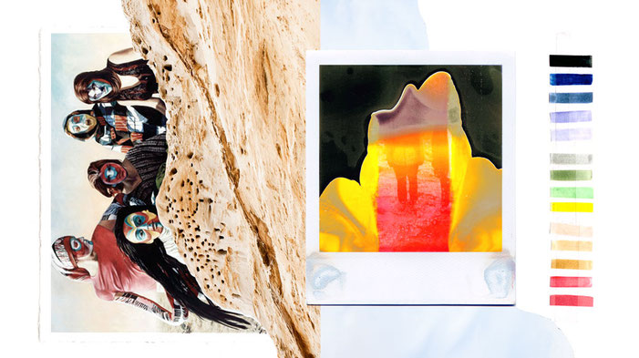 apollo-artemis, fashion, design, sustainable, handmade, ikarus, mixed media, artwork, mood, landscape, sand, polaroid, colorway