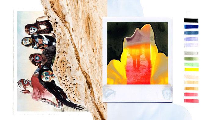 apollo-artemis, mode, design, nachhaltig, handgemacht, ikarus, collage, colors, broken polaroid, sand