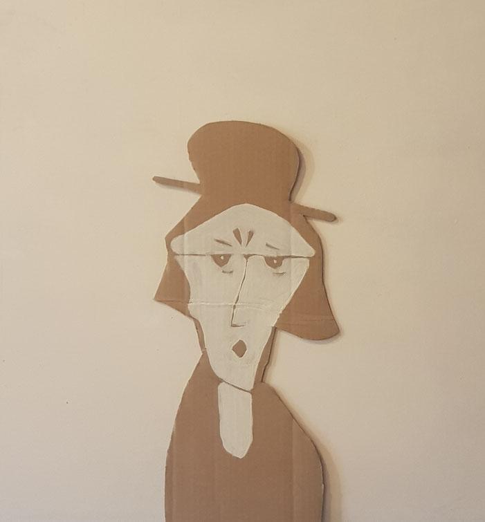Cardboard Art Bild von Grossmutter